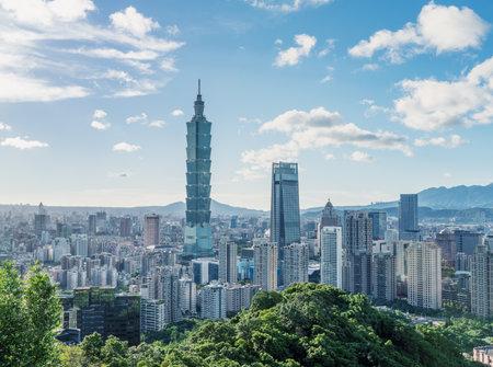 Taipei, Taiwan-Aug. 21, 2020: Taipei 101 tower skyline, urban landscape cityscape, taken from Xiangshan, elephant mountain.