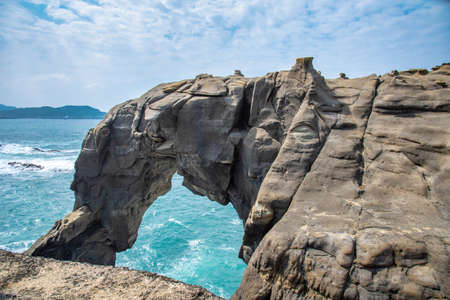Elephant Trunk Rock in Shenao Keelung, New Taipei, Taiwan beside the ocean coast.