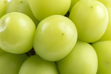 Close up of beautiful a bunch of Shine Muscat green grape isolated on white background