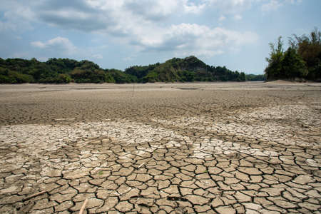 Drought lake and land in Guantian, Tainan, Taiwan. Water shortage concept.