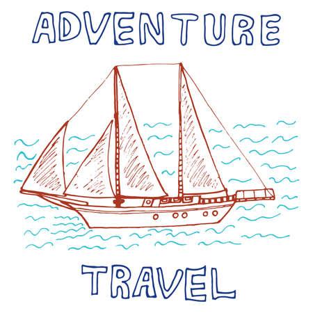 Travel hand drawn sketch for design.