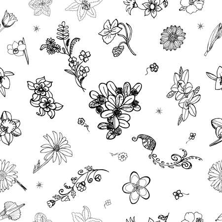 florish: Flowery Seamless Background. Florish nature elements. Illustration