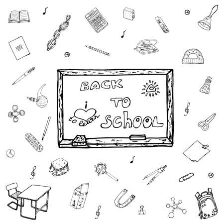 pedagogic: Collection of draft elements, signs, symbols about Learning. Illustration