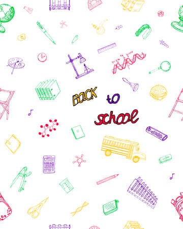 Ideal Quality Sketch Drawing seamless pattern for Schooling design.