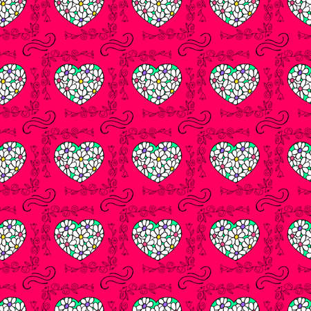 Unusual Hand Drawing Doodled Pattern with Festive Elements. Hand-drawn Vector Illustration. Ideal Seamless Sketch Background for Happy Valentines Day, Celebration Event, Print, Wallpaper, Wrapping.
