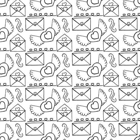 Unusual Hand Drawing Doodled Pattern with Romantic Icons. Hand-drawn Vector Illustration. Ideal Seamless Sketch Background for Happy Valentine's Day, Celebration Event, Print, Wallpaper, Wrapping.