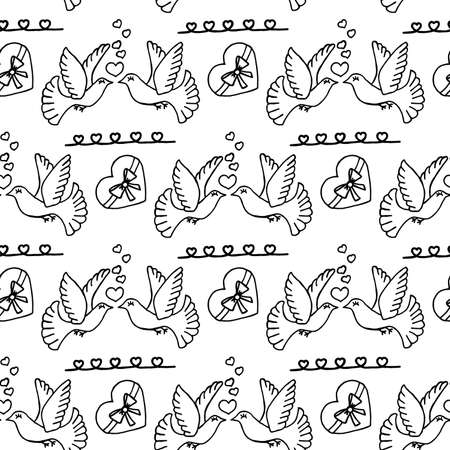 Unusual Hand Drawing Doodled Pattern with Romantic Carrier Pigeon. Hand-drawn Vector Illustration. Ideal Seamless Sketch Background for Happy Valentine's Day, Celebration Event, Print, Wrapping.