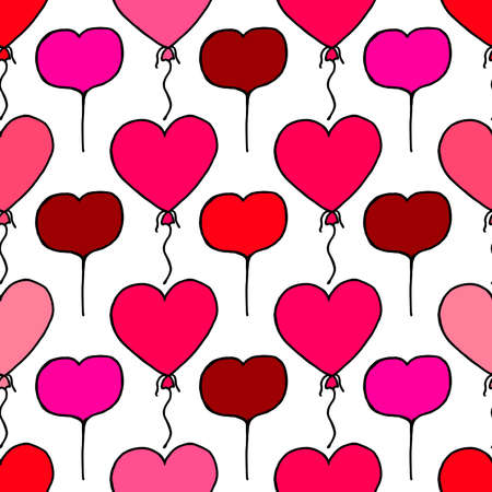 Unusual Hand Drawing Doodled Pattern with Romantic Balloons. Hand-drawn Vector Illustration. Ideal Seamless Sketch Background for Happy Valentine's Day, Celebration Event, Print, Wallpaper, Wrapping.