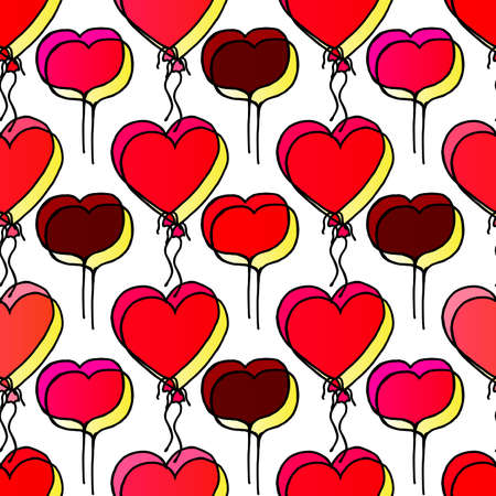 Hand Drawing Doodled Pattern with Romantic Balloons. Hand-drawn Vector Illustration. Ideal Seamless Sketch Background for Happy Valentine's Day, Celebration Event, Print, Wallpaper, Wrapping.
