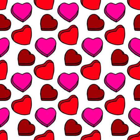 Unusual Hand Drawing Doodled Pattern with Colorful Romantic Hearts. Hand-drawn Vector Illustration. Ideal Seamless Sketch Background for Happy Valentine's Day, Celebration Event, Print, Wrapping.