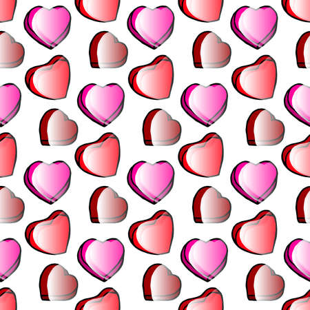 Hand Drawing Doodled Pattern with Romantic Hearts. Hand-drawn Vector Illustration. Ideal Seamless Sketch Background for Happy Valentines Day, Celebration Event, Print, Wallpaper, Wrapping. Illustration