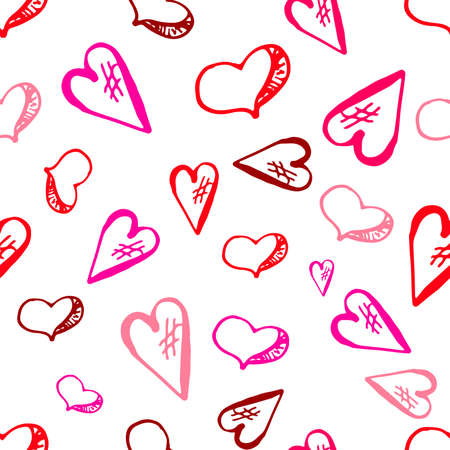 Hand Drawing Doodled Pattern with Romantic Icons. Hand-drawn Vector Illustration. Ideal Seamless Sketch Background for Happy Valentines Day, Celebration Event, Print, Wallpaper, Wrapping.