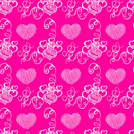 Unusual Hand Drawing Doodled Pattern with Romantic Hearts. Hand-drawn Vector Illustration. Ideal Seamless Sketch Background for Happy Valentine's Day, Celebration Event, Print, Wallpaper, Wrapping. Vettoriali