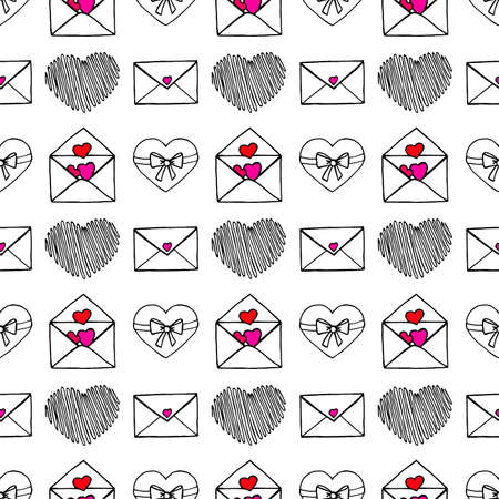Hand Drawing Doodled Pattern with Romantic Icons. Hand-drawn Vector Illustration. Ideal Seamless Sketch Background for Happy Valentine's Day, Celebration Event, Print, Wallpaper, Wrapping. Vettoriali