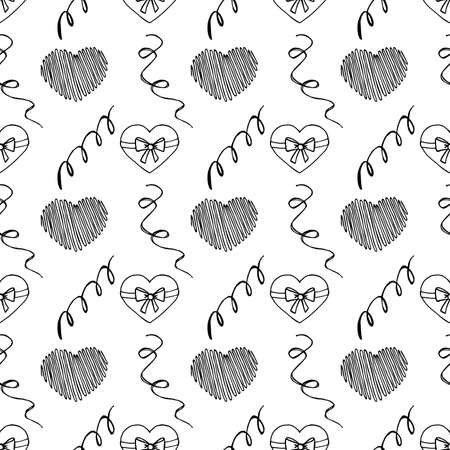 Unusual Hand Drawing Doodled Pattern with Romantic Hearts. Hand-drawn Vector Illustration. Ideal Seamless Sketch Background for Happy Valentines Day, Celebration Event, Print, Wallpaper, Wrapping.
