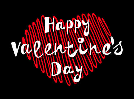 Happy Valentine's Day. Fashion Celebration Card. Ideal Design Vector Illustration: Decoration Handwritten Slogan with Color Hearts for Festive Banners, Posters, Placards, Brochures.