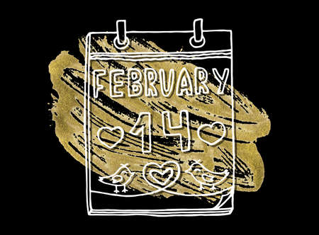 Celebration Card with Acrylic Stain and February 14 inscription. Ideal Design Vector Illustration: Decoration Hand-Drawn Doodles with Golden Paint for Festive Banners, Posters, Placards, Brochures.