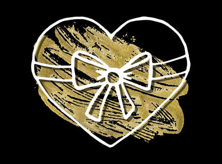 Illustration of a heart with ribbon in Acrylic  Stain background. Ideal Design Vector Illustration: Decoration Hand-Drawn Doodles with Golden Paint for Festive Banners, Posters, Placards, Brochures.