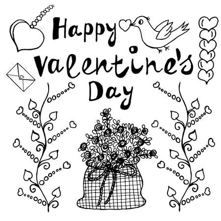 Happy Valentine's Day Ornamental Unusual Art Elements with Decoration Freehand Letters. Festive Vector Illustration. Ideal Hand Drawing Doodled Design. Hand-Drawn Sketch for Congratulations Templates.