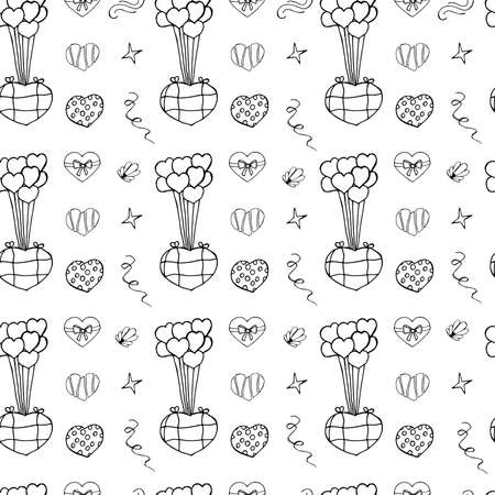 Unusual Hand Drawing Doodled Pattern with Festive Elements. Hand-drawn Vector Illustration Texture. Ideal Sketch Background for Happy Valentines Day, Celebration Event, Print, Wallpaper, Wrapping.