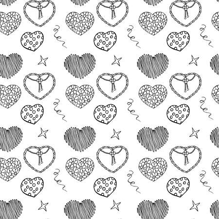 Hand Drawing Doodled Pattern with Festive Elements. Hand-drawn Vector Illustration Texture. Ideal Sketch Background for Happy Valentine's Day, Celebration Event, Print, Wallpaper, Wrapping. Vettoriali