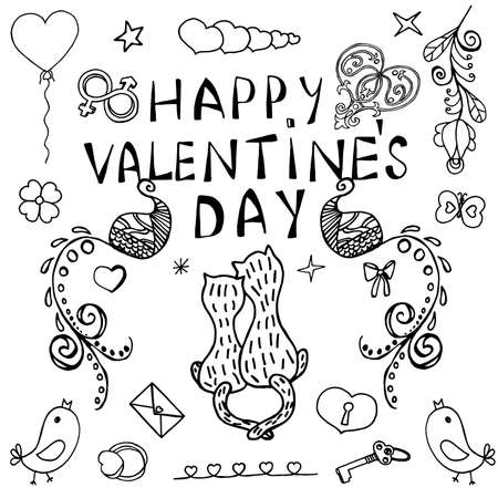 Happy Valentine's Day Ornamental Unusual Art Elements with Decoration Freehand Letters. Festive Vector Illustration. Ideal Hand Drawing Doodled Design. Hand-Drawn Sketch for Layouts and Templates.