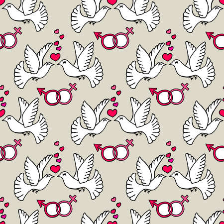 Unusual Hand Drawing Doodled Pattern with Romantic Birds. Hand-drawn Vector Illustration. Ideal Seamless Sketch Background for Happy Valentine's Day, Celebration Event, Print, Wallpaper, Wrapping.