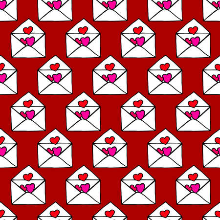 Love letters. Ideal Hand Drawn pattern with doodles elements for your Holiday design: print, wallpaper, wrapping. Hand-Drawing sketch. Romantic message. Valentine's Day. Vector illustration. Illusztráció
