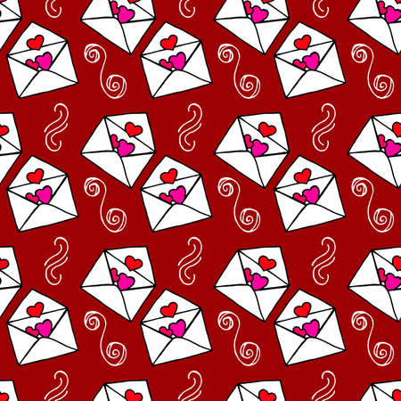 Love letters. Ideal Hand Drawn pattern with doodles elements for your Holiday design: print, wallpaper, wrapping. Hand-Drawing sketch. Romantic message. Valentine's Day. Vector illustration. Vettoriali