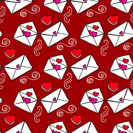 Ideal Hand Drawn pattern with doodles elements for your Holiday design: print, wallpaper, wrapping. Love letters. Hand-Drawing sketch. Romantic message. Valentine's Day. Vector illustration.
