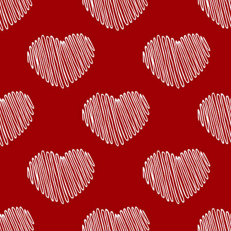 Hand Drawn Hearts. Ideal decoration pattern with doodles elements for your Holiday design: print, wallpaper, wrapping. Hand-Drawing sketch. Romantic background. Valentine's Day. Vector illustration. Vettoriali