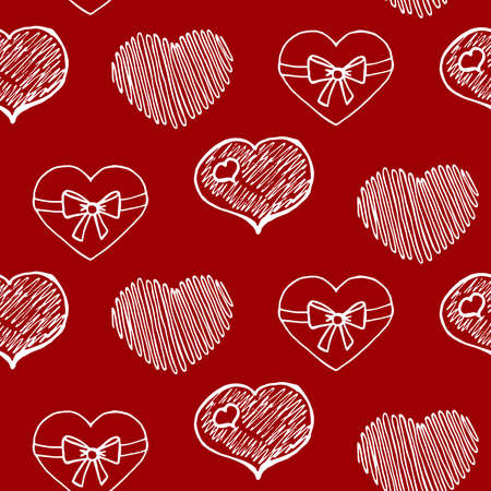 Hand Drawn Hearts. Ideal decoration pattern with doodles elements for your Holiday design: print, wallpaper, wrapping. Hand-Drawing sketch. Romantic background. Valentines Day. Vector illustration.