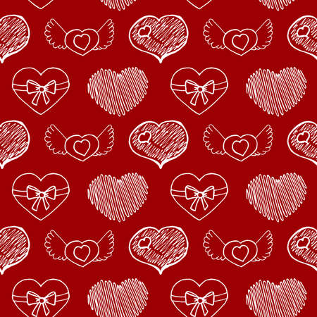 Hand Drawn Hearts. Ideal decoration pattern with doodles elements for your Holiday design: print, wallpaper, wrapping. Hand-Drawing sketch. Romantic background. Valentine's Day. Vector illustration. Illustration