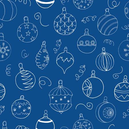 Seamless Christmas pattern with Christmas tree balls. Hand drawn design, vector illustration. Vettoriali