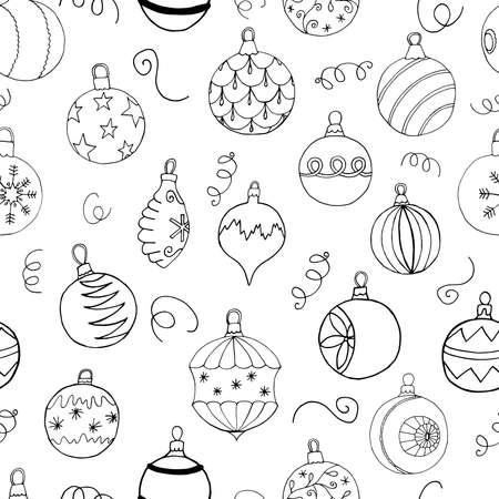 Christmas seamless pattern with Christmas tree balls. Hand drawn art design, vector illustration.