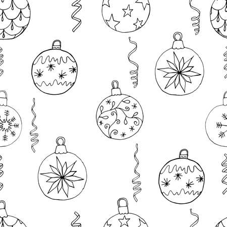 Christmas tree balls and ribbons seamless Christmas pattern. Hand drawn art design, vector illustration.