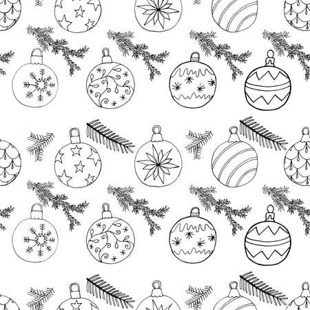Christmas tree balls and fir branch seamless Christmas pattern. Hand drawn doodling design, vector illustration. Vettoriali