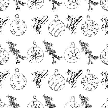 Christmas tree balls and fir branch seamless Christmas pattern. Hand drawn decoration design, vector illustration. Vettoriali