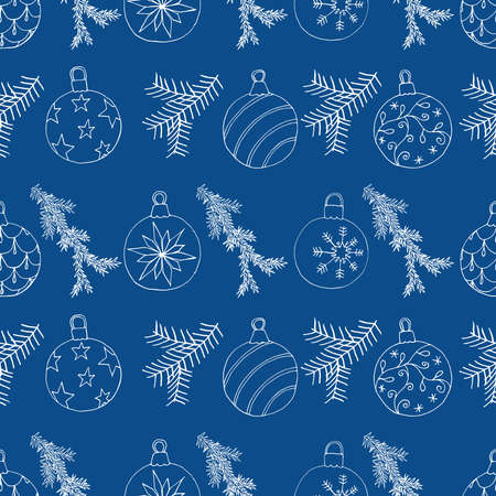 Seamless Christmas pattern with Christmas tree balls and fir branch. Hand drawn sketchy design, vector illustration.