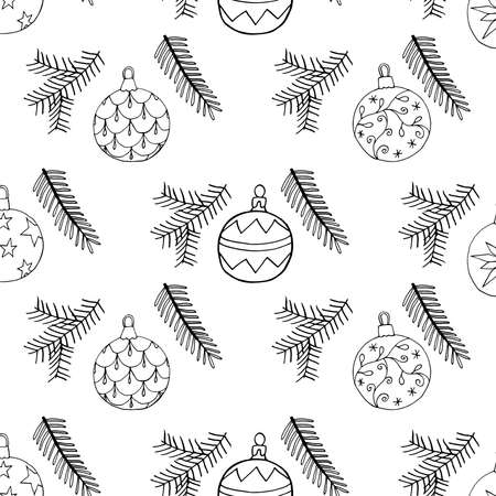 Seamless Christmas pattern with Christmas tree balls and fir branch. Hand drawn elements artwork design, vector illustration.