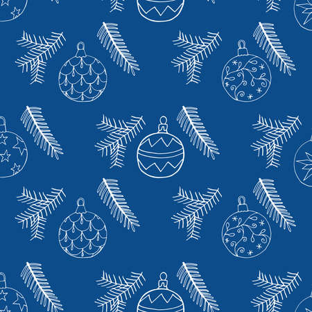 Seamless Christmas pattern with Christmas tree balls and fir branch. Hand drawn symbols ornamentation design, vector illustration.