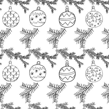 Seamless Christmas pattern with Christmas tree balls and fir branch. Hand drawn icons holiday design, vector illustration.