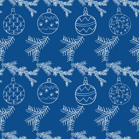Seamless Christmas pattern with Christmas tree balls and fir branch. Hand drawn icons celebration design, vector illustration. Vettoriali