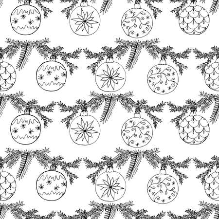 Seamless Christmas pattern with Christmas tree balls. Hand drawn icons season design, vector illustration.