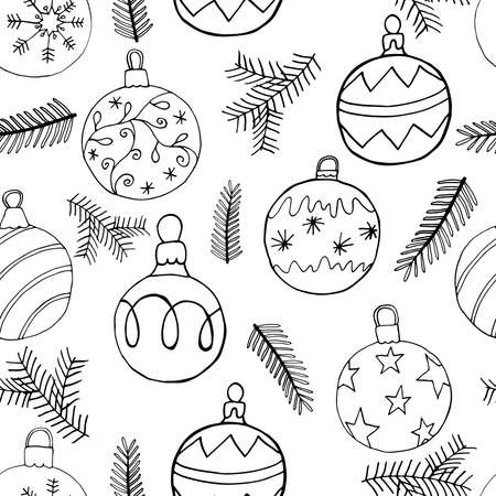 Seamless Christmas pattern abstract design with Christmas tree balls and fir branch. Hand drawn symbols, vector illustration. Vettoriali