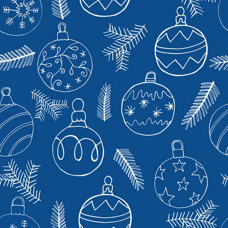 Seamless Christmas pattern festive design with Christmas tree balls and fir branch. Hand drawn icons vector illustration.