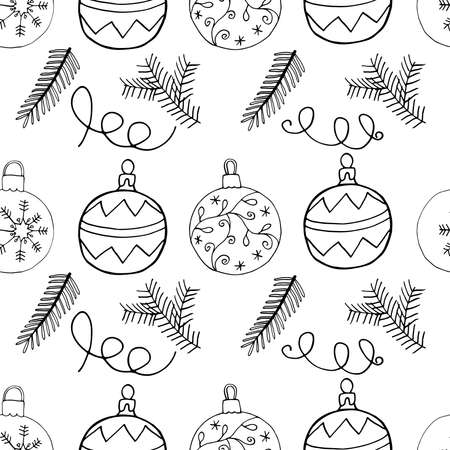 Seamless Christmas pattern celebration design with Christmas tree balls and fir branch. Hand drawn elements, vector illustration.