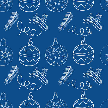Seamless Christmas pattern handmade design with Christmas tree balls and fir branch. Hand drawn symbols, vector illustration. Vettoriali