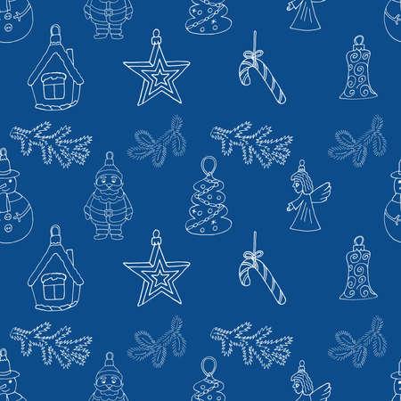 Holiday seamless Christmas pattern design for Christmas season. Hand drawn, vector illustration.