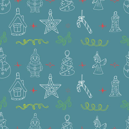 Christmas sketch pattern with hand drawn holiday signs. Seamless Christmas design for winter season. Background with doodle house, star, fir branch, candy cane, angel. Vettoriali